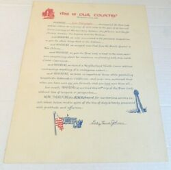 Lady Bird Johnson, Rare Humorous Broadside As First Lady This Is Our Country