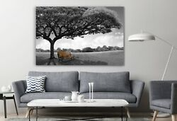 Sitting Bench Under Holy Tree Peace And Calm Painting Places Canvas Wall Art
