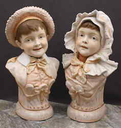 'museum Quality' Pair Of Large Antique Figurines - Boy And Girl