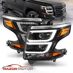 For 2015-2020 Chevy Tahoe Suburban Led Drl Projector Black Headlights Left Right