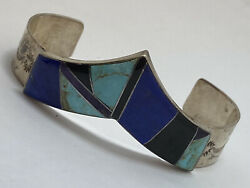 Vintage Gilbert Nelson Navajo Sterling Silver Turquoise Lapis Onyx Cuff Bangle