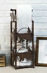 Cast Iron Western Rustic Black Bear Pine Trees Toilet Paper Holder Stand Station
