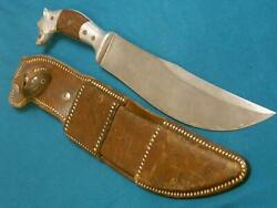 Huge Vintage Mexico Custom Dogs Head Hunting Survival Bowie Knife Knives Antique
