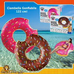 Donut Inflatable Lifebelt Donut Pink Brown Sea Swimming Pool Beach Giant
