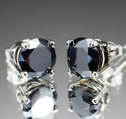 3.60tcw Real Natural Black Diamond Stud Earrings 10k White Gold And 2200 Value...
