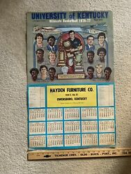 1976-77 University Of Kentucky Wildcats Menand039s Basketball Team Poster And Schedule