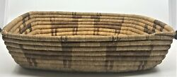 Early Hand Woven Rectangle Basket Whirling Logs Animals Figural Apache Large
