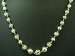 925 Sterling Silver Collier/balls/necklace / Real Silver/21,8g/48,5cm