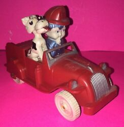 Vintage Ideal Fire Chief With Dog Fire Truck Plastic Toy