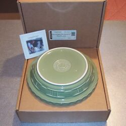 Longaberger Sage Pottery Grandma Bonnie's Pie Plate Made In Usa New In Box