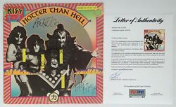 KISS X4 GENE SIMMONS PAUL STANLEY PETER & ACE SIGNED HOTTER THAN HELL RECORD PSA