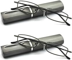 Eye Zoom 2 Pack Ultra Slim Compact Lightweight Tube Reading Glasses With Portabl