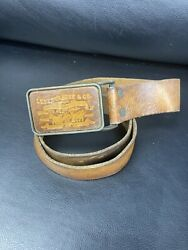 Vintage Levi Strauss And Co. Original Riveted Leather Belt Buckle Rare