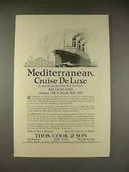 1923 Thos. Cook And Son Belgenland Cruise Ship Ad - Mediterranean