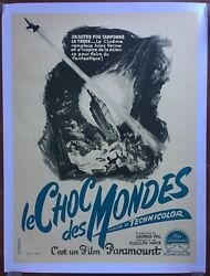 Poster Mounted The Clash Des Mondes When Worlds Collide Sci-fi 23 5/8x31 1/2in