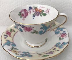 Vintage Tuscan Fine English Bone China Tea Cup And Saucer Floral Flowers Colorful