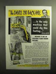 1957 Davis 210 Backhoe Ad - Could Dig This Footing