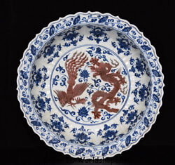 16.8 Xuande Marked Old China Blue White Red Porcelain Dynasty Dragon Plate Tray
