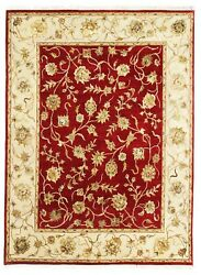 Hand Knotted Wool And Silk Carpet Red Beige 'hyana' Handmade Area Rug 8x10 Ft