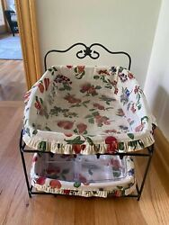 Longaberger Wrought Iron Paper Tray Stand + Baskets, And Protector Fruit Medley