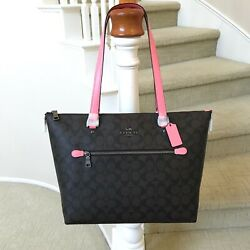 New Coach Signature Brown Pink Gallery Tote Bag 79609 $159.99