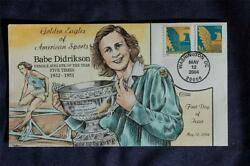 Golden Eagles 25c Stamps Fdc Handpaint Collinsl3804 Sc384851 Babe Didrikson