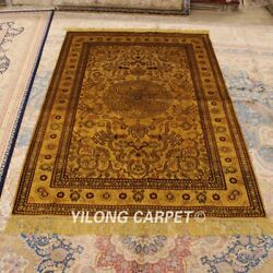 Yilong 4and039x6and039 Golden Silk Hand Knotted Carpet Medallion Antique Area Rugs G30ab