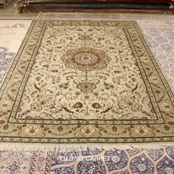 Clearance Yilong 6'x9' Antique Wool Silk Carpet Soft Hand Knotted Area Rug 1462