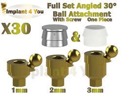 30x Set Angled 30anddeg Ball Attachment One Piece + Screw For Dental Implant Hex 2.42
