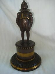 19th Century English Bronze Gas Cigar Lighter-figure Of Man- Maintains Gas Pipe
