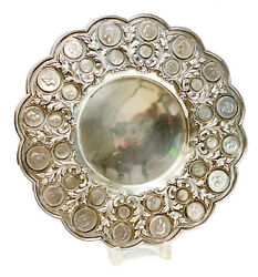 Exquisite 833 Porto Silver Coin Mounted Centerpiece Tray Charger