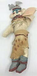 Vintage Native American Toy Petroglyph Bandolier Kachina Doll Suede Beaded
