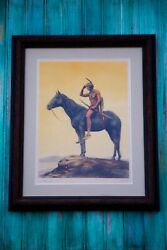 """Antique 100 Yr. Old Cyrus E. Dallin Indian """"the Scout"""" Artist Signed Litho Print"""