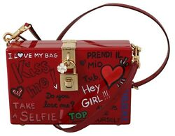 Dolce And Gabbana Bag Purse Hand Painted Wooden Red Box Sicily Leather Rrp 2600
