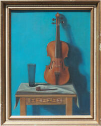 Still life w violin pipe and glass vintage oil painting by Istvan Macsai Hungary
