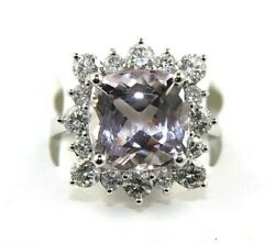 Cushion Pink Kunzite And Diamond Halo Solitaire Ring 14k White Gold 8.66ct
