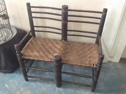 The Best Folkart Painted American Antique Split Seat Wagon Bench Settee Chair