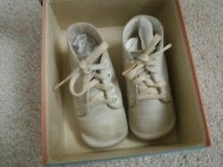 Vintage White Baby Deer Shoes With Vintage Gertrude's Pink and Blue Shoe Box $3.00