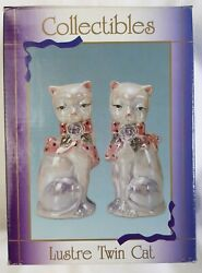 Collectibles 7.75 Lustre Twin Cat Porcelain Kitty Cats Figurines