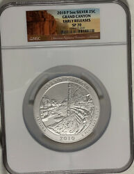2010 P 5oz Silver Quarter 25c Grand Canyon Arizona Ngc Sp 70 Early Releases
