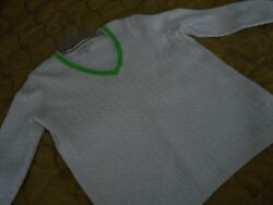Tommy Hilfiger - White Cable  V Neck Sweater - Womens 1X - Pre owned $4.99