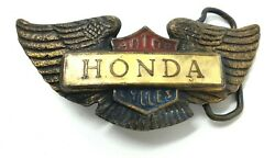 Vintage Honda Goldwing Motorcycles Enamel Brass Advertising Belt Buckle Biker $15.00