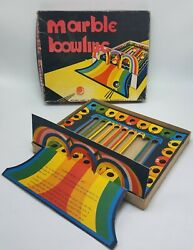 Rare Vintage National Games Marble Bowling Made In Usa Cardboard Die Cut Game