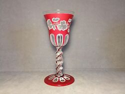 Very Rare Antique Nicholas Lutz Sandwich Etched And Cut Ruby Art Glass Goblet