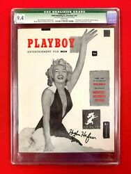 CGC 9.4 #1 PLAYBOY:WORLD'S HIGHEST GRADED HUGH M HEFNER SIGNED WITH WHITE PAGES!