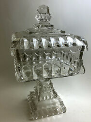 Large Crystal Wedding Compote Covered Glass Adams 1890 Eapg