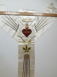 Antique French Sacred Heart Of Jesus Vestment Chasuble Embroidered Panel 1930's