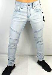 True Religion Menand039s Rocco Relaxed Stretch Skinny Moto Jeans - 103394