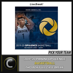 2019-20 Panini Opulence Basketbal 2 Box Full Case Break B467 - Pick Your Team