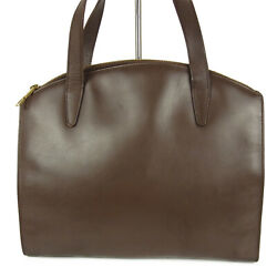Auth G Logos Leather Tote Hand Bag Brown Italy F/s 14677b